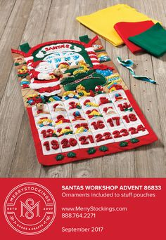 Gorgeous Bucilla Advent Calendar kit entitled Santas Workshop. Available at MerryStockings in September 2017.
