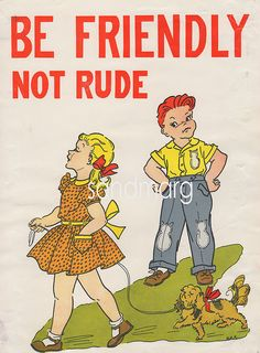 1950s School Good Manners Poster