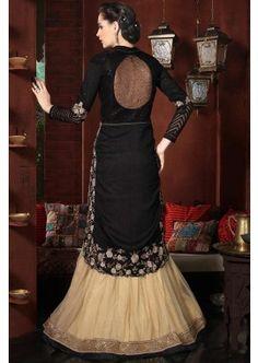 Black Bhagalpuri Silk Anarkali Suit, - Rs. 7,729.00, #IndianAnarkaliSuit #OnlineFashion #Shopkund