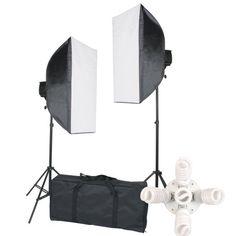StudioFX 2000 WATT Digital Photography Continuous Softbox Lighting Studio Portrait Kit - 2 Light stands, 2 Softboxes, 10 bulbs