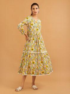 Buy Lemon Yellow Hand Block Printed Mulmul Dress | ATS22OCT131/ATS22 | Theloom A Line Kurta, Yellow Print, Lemon Yellow, Western Wear, Black Cotton, Blue Stripes, Red Green, Cute Outfits, Kurti