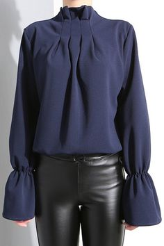 Solid Color Cowl Neck Bell Sleeve Blouse