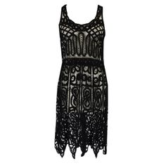 Flapper Dress: ca. 1920's, tape lace, beaded.