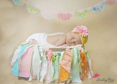 Newborn Baby Girl Photo Prop Rag Garland by SewBarefoot on Etsy, $22.00