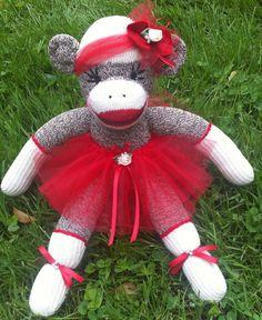 Sock Monkey Doll, Plush Toy in Red Tutu. $40.00, via Etsy.