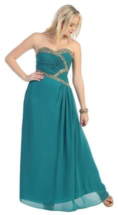Long Strapless Plus Size  Chiffon Formal Cheap Prom Dress - The Dress Outlet - 1