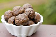 Clean Eating Spiced Almond Butter Balls---some crazy ingredients, id have to make a special trader joes (expensive!) trip