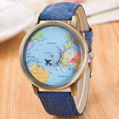World Map Airplane Travel Quartz Watch ($4.92) ❤ liked on Polyvore featuring jewelry, watches, travel watches, quartz wrist watch, quartz watches, world map jewelry and quartz jewelry