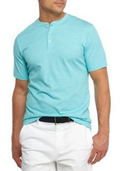 Crown  Ivy   Short Sleeve End On End Henley Shirt