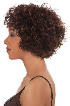 HH-WHITNEY-V is an 8 inch short layered spiral and loose curl combination style with curly bang. 100 percent human hair that feels, looks, and curls just like your hair in the most natural way possibl