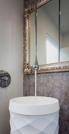 Gessi 'Goccia' ceiling mounted tap. Available through Retreat Design #design #tapware #bathroom #bathroomdesign