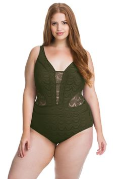 Crochet one piece plunge features sheer insets with removable soft cups, reinforced side stays, and adjustable straps. Ties at back.