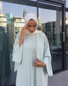 - - Dressed in ✨ Necklace & ring MAS Jewels ✨ Modest Fashion Hijab, Modern Hijab Fashion, Islamic Fashion, Abaya Fashion, Muslim Fashion, Fashion Outfits, Girl Fashion, Fashion Tips, Hijab Fashionista
