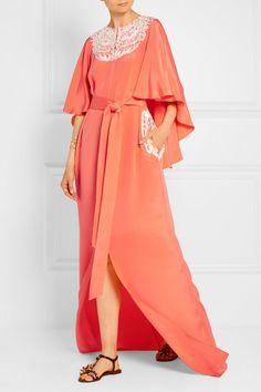 Oscar de la Renta   Embroidered cape-effect silk-crepe gown   NET-A-PORTER.COM