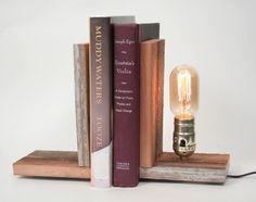 Book Ends- Rustic Wood Lighting, Bookends, Wood Lamp, Lighting, Exposed Edison Bulb. $70.00, via Etsy.
