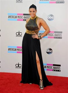Jordan-sparks-2013-AMA-Awards-Red-Carpet...Nice silhouette & details. Change the color for that wedding look.