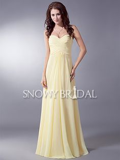 23ce6353128  US 94.99  Pale Yellow Floor Length Chiffon Sweetheart A-Line Bridesmaid  Dress