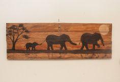 Elephant decor Large painting Wooden wall hanging Elephant family Elephant painting Elephant art Safari theme Pallet wood art Summer Gifts