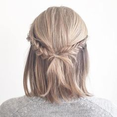 Half Updo With Fishtail Braids for Short Hair