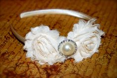 Ivory Shabby Chic Little girl Headband  by SweetieBabyBoutique