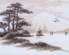 """Cross stitch pattern """"Fudziyama"""" Instant download in PDF. Chinese landscape."""