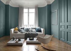 nice Déco Salon - couleur peinture salon bleu pétrole, canapé gris ...