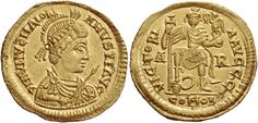 Majorian (457-461). Solidus, 4.37 g, Arelate. D N IVLIVZ MAIORI – ANVS P F AVG. Helmeted, pearl-diademed and cuirassed bust r., holding spear in r. hand and shield bearing Christogram (☧) in l. / VICTORI – Α AVGGG. Emperor standing facing, holding long cross and Victory on globe, r. foot on man-headed serpent; in field, A – R and in exergue, COMOB. C 1. RIC 2632. Lacam 25 (this obverse die). LRC 884. Depeyrot 25/2.