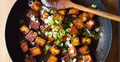 Meera Sodha's take on a classic Indian street food dish combines the full-bodied flavour of paneer cheese with the spice of green chilli and the tang of spring onions. A perfect Indian vegetarian main course, or side dish to a meat curry.