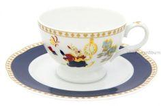Tea Coffee Cup Saucer Disney Alice in Wonderland Pottery Porcelain White Rabbit