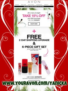 Free Expedited Shipping on any order of $50 or more through 12/20. Use code: EXPEDITE. **Must** choose expedited shipping at checkout. There is still time to get it in time for Christmas!! #Avon #Christmas #expedited #shipping #free #gwp #couponcode #holidays #deals #gifts