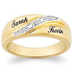 10k Gold Mens Engraved Name Diamond Wedding Band