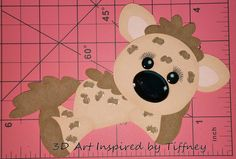 B072 3D Hand Cut Paper Piecing Jungle Hyena Scrapbooking Cardmaking - Pre-Made Pages & Pieces