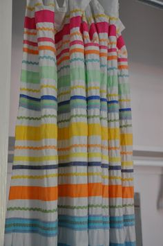 """Jane Coslick Cottages ~~~~making closet """"doors"""" from a fun shower curtain.or a valance, or curtains! Cottage Bath, Cottage Living, Coastal Cottage, Girl Nursery, Girl Room, Baby Room, Kids Basement, Cool Shower Curtains, Beach Shack"""