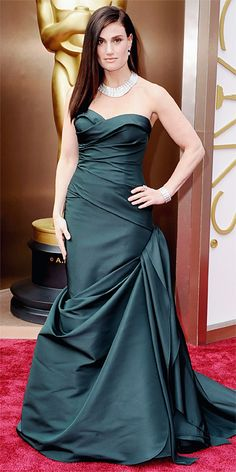 Elphie would be proud of how glamorous Idina looks!   Oscars 2014 Red Carpet Arrivals - Idina Menzel in Vera Wang from #InStyle.