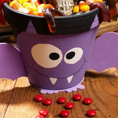 Happy Bat Halloween Pot | FaveCrafts.com