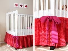 DIY crib skirt - Very easy: this one is sewn but because it is so easy you could probably do it with hem tape and an iron...