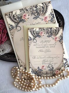 Romantic Vintage Wedding Invitation Suite by AVintageObsession.  I like these & they seem pretty affordable. $850 for 200 of them including extra cards for directions/hotel info.
