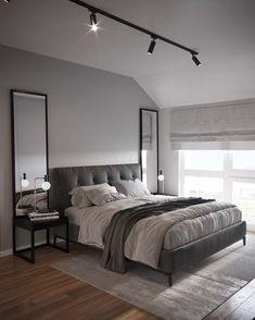 Bedroom Setup, Couple Bedroom, Small Room Bedroom, Room Ideas Bedroom, Home Decor Bedroom, Modern Bedroom, Small Rooms, Grey Bed Room Ideas, Master Bedroom Grey