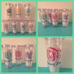 Monogrammed senior week tumblers.  Perfect for keeping drinks cold on the beach!  From Shray Designs.  www.facebook.com/shraydesigns