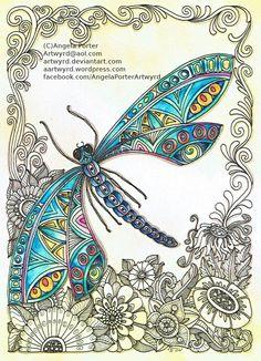 """Képtalálat a következőre: """"zentangle dragonfly"""" Dragonfly Art, Dragonfly Tattoo, Doodles Zentangles, Zentangle Patterns, Zen Doodle, Doodle Art, Tangle Art, Tangle Doodle, Zen Art"""