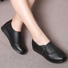 Women's Shoes Casual Slip On Comfortable Work Shoes - Women Shoes - Schuhe Women's Shoes, Loafer Shoes, Black Shoes, Loafers, Comfortable Work Shoes, Neoprene, Superstars Shoes, Ladies Slips, Leather Slip Ons