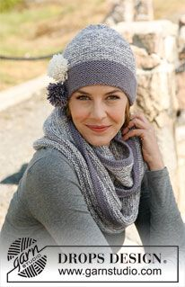 "Knitted DROPS hat and neck warmer in 2 threads ""Baby Alpaca Silk"". ~ DROPS Design"