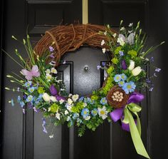 Gorgeous Spring Wreath.  All the vibrant colours that show up during this season are reflected on this unique wreath.