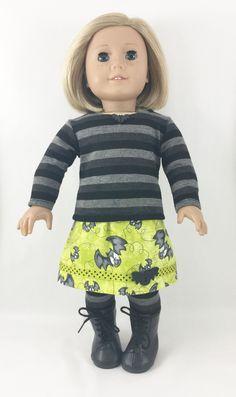 Fits American Girl Halloween T Shirt Skirt Leggings Bats in Grey Black Neon Green