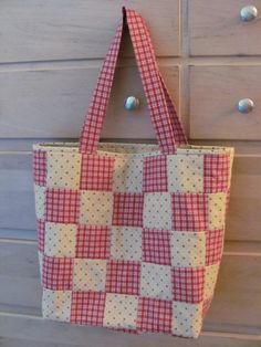 red and tan patchwork quilted totebag