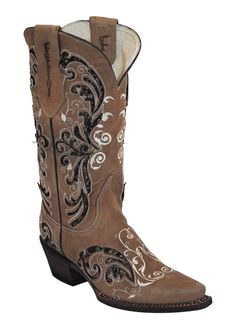 Womens Ferrini Brown Laser Glimmer Inlay Leather V Toe Western Boots