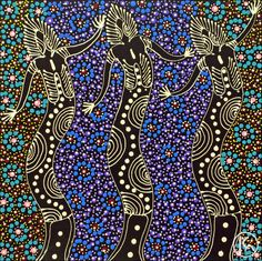 Dreamtime Sisters by Colleen Wallace Nungari from Utopia, Central Australia created a 30 x 30 cm ...