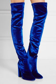 Heel measures approximately 105mm/ 4 inches Bright-blue velvet Zip fastening along back Made in Italy