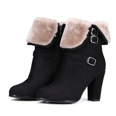 FUR-LINED ANKLE BOOTIES