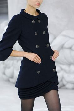 Chanel blue buttons jacket + layered mini skirt | fall autumn style